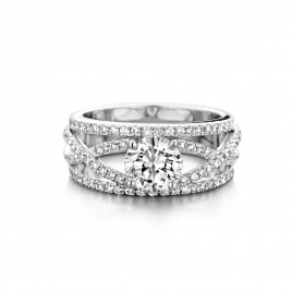 Petunia - Engagement ring in white gold and diamond