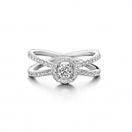 Engagement ring in white gold and diamond - Ivy