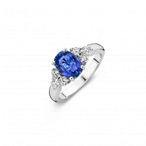 St Lucia - Engagement ring in white gold, sapphire and diamond