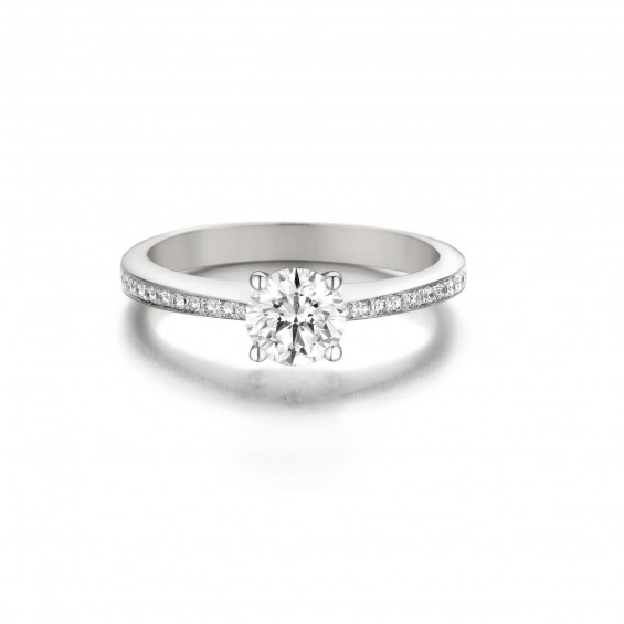 Rose - Engagement ring in white gold and diamond