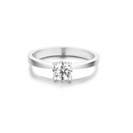 Tulip - Engagement ring in white gold and diamond