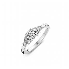 Romantic Vintage - Engagement ring in white gold and diamond