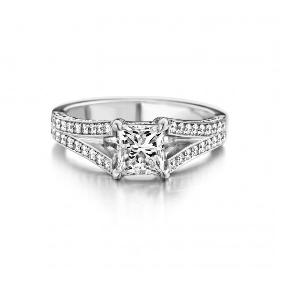 Tulipa - Engagement ring in white gold and diamond
