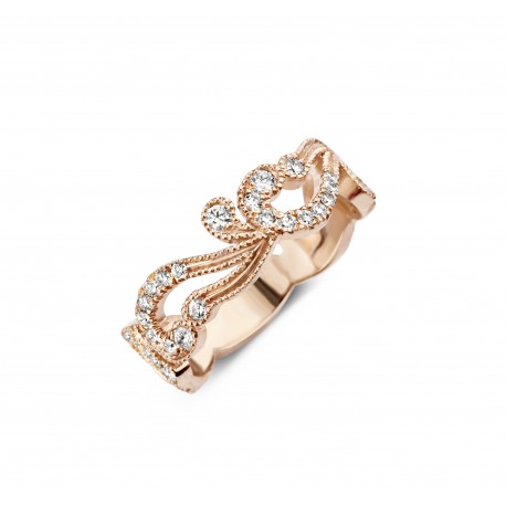 Romantic Vintage 0,60ct - Alliance ring in rose gold and diamond