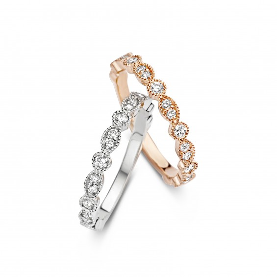 Romantic Vintage 0,36ct - Alliance ring in white gold and diamond