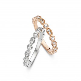 Romantic Vintage 0,36ct - Alliance ring in rosé gold and diamond