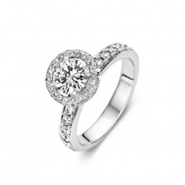 Floralie - Engagement ring in white gold and diamond