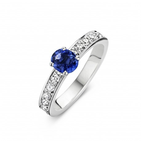 Venice - Engagement ring in white gold, sapphire and diamond