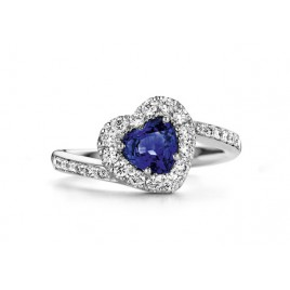Mykonos - Engagement ring in white gold, sapphire and diamond