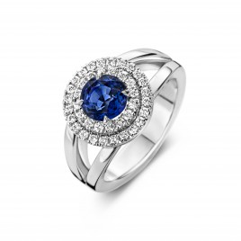 Santorini - Engagement ring in white gold, sapphire and diamond