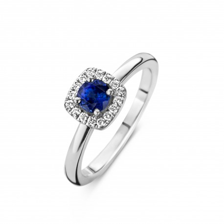 Fiji - Engagement ring in white gold, sapphire and diamond