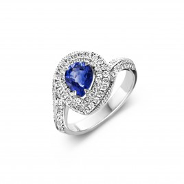 Harbour Island - Engagement ring in white gold, sapphire and diamond